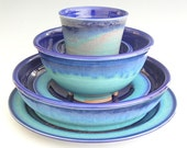 Ceramic Dinnerware Set - Made to Order - Cobalt Blue Turquoise