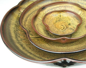 Nesting Bowl Set- Made to Order - Sunflower Yellow Brown Ceramic Pottery - Set of 4