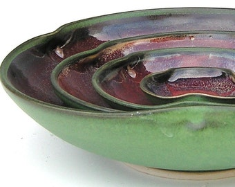 Nesting Bowl Set - Made to Order - Dark Green Black Copper Red