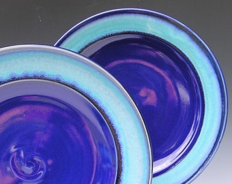 Ceramic Dinner Plates - Made to Order - Cobalt Blue Turquoise Pottery - Set of 2