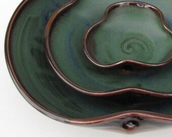 Nesting Bowl Set- Made to Order - Dark Green Brown Black Ceramic Pottery - Set of 3