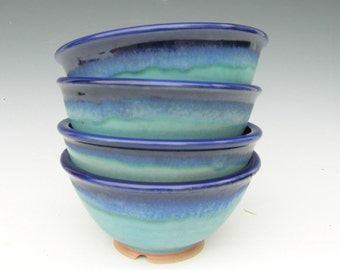 Set of 4 Noodle Bowls - Cobalt and Turquoise - Made to Order