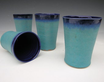 Tall Beverage Tumblers - READY TO SHIP - Turquoise and Cobalt Blue - Set of 4