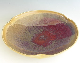 Extra-Large Poppy Bowl - Made to Order - Honey Yellow Copper Red Ceramic Pottery
