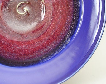 Large Bowl - Made to Order - Coblalt Blue Honey Yellow and Copper Red Ceramic Pottery