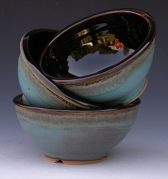 Noodle Bowls - Made to Order - Turquoise Brown Black - Set of 4