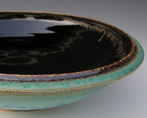 Extra Large Serving Bowl - Made to Order - Turquoise Brown and Black Ceramic Pottery