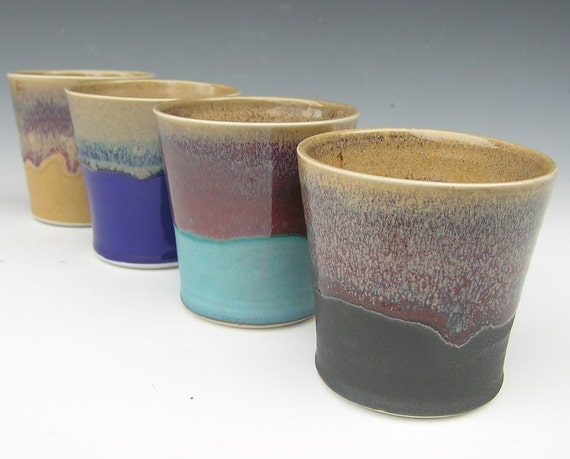 Beverage Tumblers - Made to Order - Mutli Colored Ceramic Pottery - Set of 4