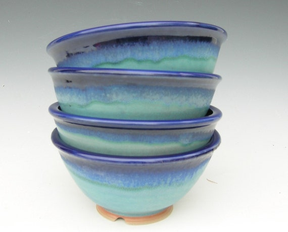 Made to Order...Set of 4 Noodle Bowls in Cobalt and Turquoise