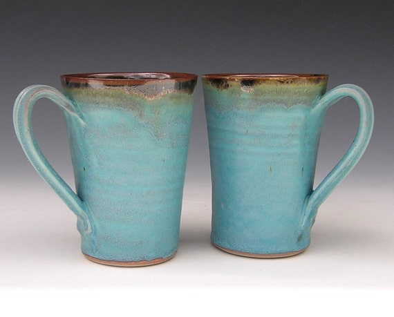 Ceramic Latte Mugs - Made to Order - Turquoise Brown Black Pottery - Set of 2