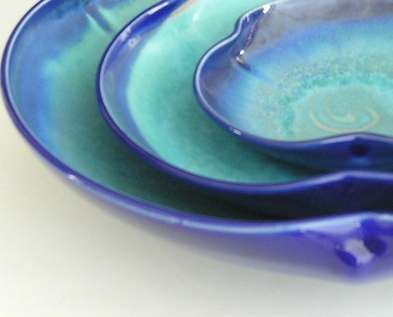 Nesting Bowl Set- Made to Order - Turquoise Cobalt Blue Ceramic Pottery - Set of 3