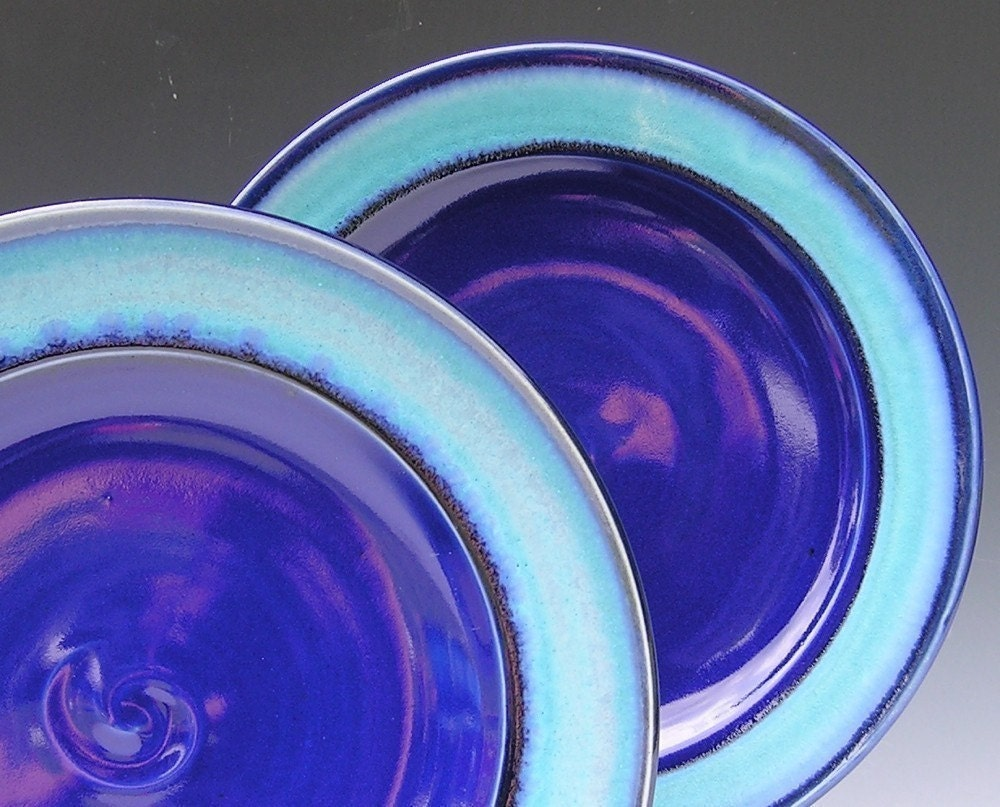 Ceramic Dinner Plates Made To Order Cobalt Blue Turquoise