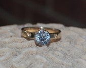 Yellow and White Gold Diamond Engagement ring with engraved hearts