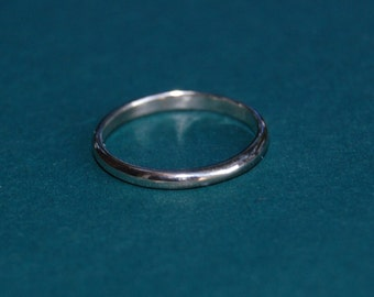 White Gold 2mm Domed Wedding band- A Nice Slice of Gold