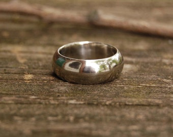 White Gold Domed Wedding band