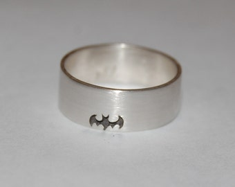 Getting Batty Batman Sterling Silver Hand carved Ring
