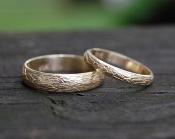The Natural Tree Vine 10kt Yellow Gold Wedding band set