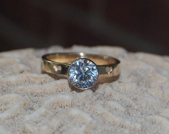14kt Yellow and White Gold .33 carat Diamond Engagement ring with engraved hearts