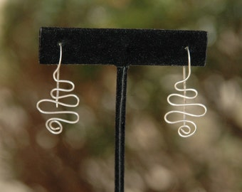 Curvy Hand Wrapped Silver Earrings