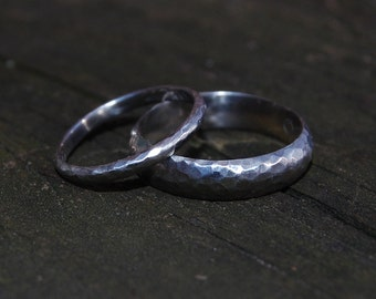 Heavy Hammered White Gold Domed Wedding Band Set