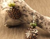 Crinkled Copper Earrings