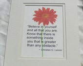 Believe In Yourself - Motivational Matted Print