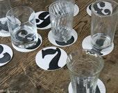 Letterpress Numbers Coasters - Set of 10