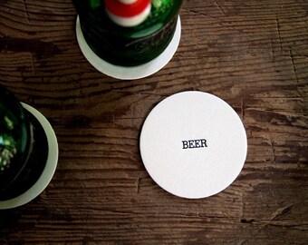 Beer:  Letterpress Pub Coasters  (Set of 10)