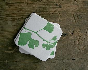 Ginkgo - set of 4 letterpress coasters