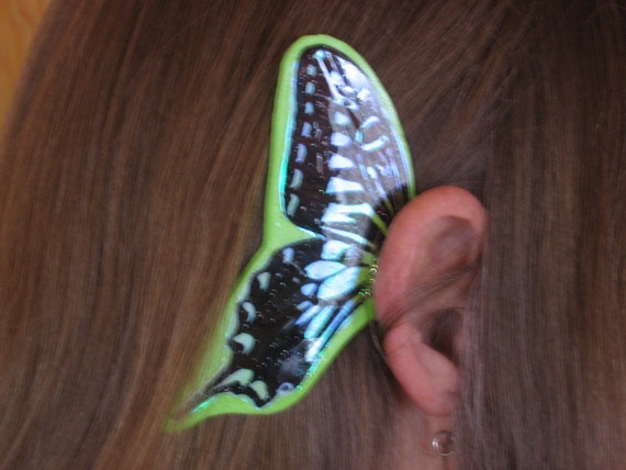 Stained Glass look Green Butterfly Ear Wings
