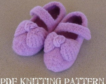 PDF Knitting Pattern - Felted Toddler Mary Jane Slippers