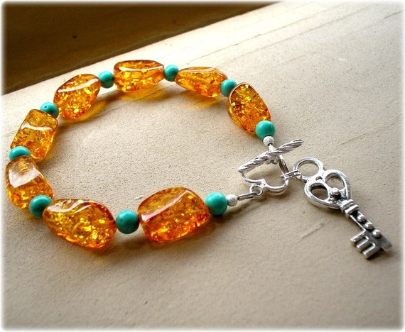 Amber Sky- Baltic Amber, Turquoise and Sterling Silver Bracelet