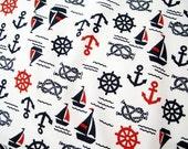 Navy Blue Anchor Cotton Fabric