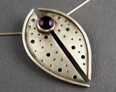 Ships within 24 hours   Amethyst and Sterling Silver Divided Elliptical Pendant