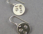 Bitty Circle Earrings Three Spirals