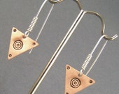 Copper Triangles with Circles and Sterling Silver Earrings