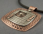 Copper and Sterling Silver Mixed Metal Mod Squares and Circles Pendant