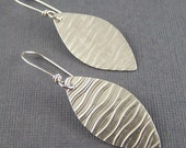 Sterling Silver Wavy Textured  Ellipse Earrings