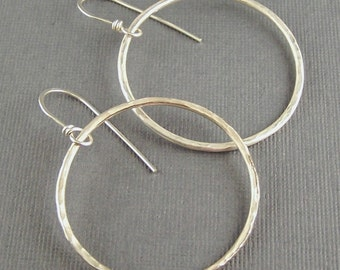 Inch and a half Sterling Silver Oxidized Hoop Earrings