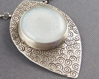 Opalescent Fused Glass and Sterling Silver necklace