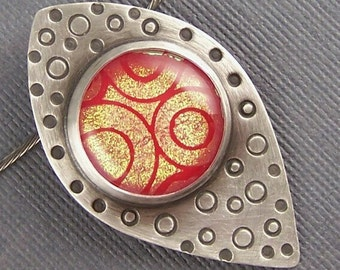Ships within 24 hours sterling Silver and Red Dichroic Fused Glass Circles Upon Circles  Elliptical Variant Pendant
