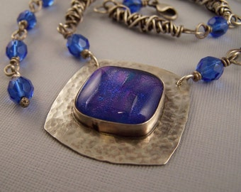 Blueberry Sapphire Fused Dichroic Glass and Sterling SIlver Twist Necklace