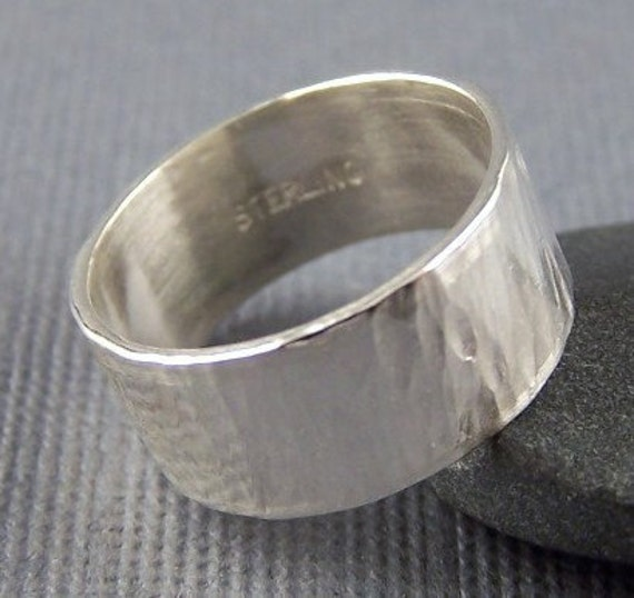 Driving Rain Sterling Silver Hammer Textured Wide Band Ring