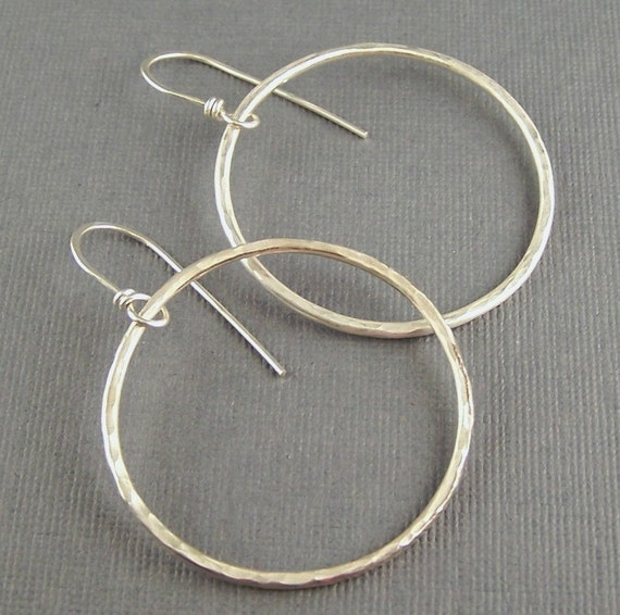 Hoop Earrings Oxidized Sterling Silver