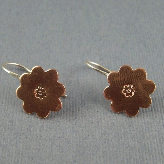 Petite Flower Copper and Sterling Silver Earrings