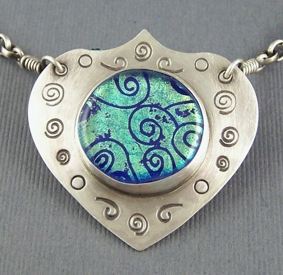 Royal Blue  with Spirals Dichroic Fused Glass  and Sterling Silver Necklace