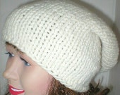 Slouchy hat, ivory, winter white, cream, knit slouchy, women's hat, men's hat, toque, slouchy beanie, winter hat, chemo cap, ski shred hat