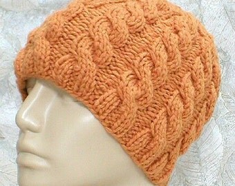 Cable knit beanie hat, topaz butterscotch apricot, skull cap, winter knit toque, ski snowboard hat, cable hat, mens womens hat, chemo cap