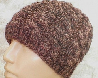 Cable knit beanie hat, taupe brown tweed, skull cap beanie hat, brown hat, winter hat, knit toque, ski snowboard, mens womens hat, chemo cap