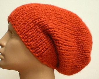 Bulky knit slouchy hat, pumpkin orange, slouchy beanie, knit hat, winter hat, ski snowboard, skateboard, toque, orange hat, mens womens hat